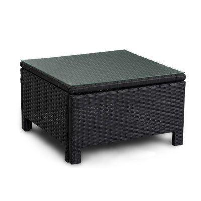 Luxo Wicker Outdoor Sun Bed Side Table Black | Black side ... on Luxo Living Outdoor id=26315
