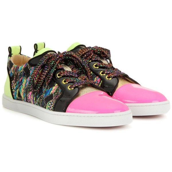 Christian Louboutin Gondoliere Patent Leather Sneakers ($705) ❤ liked on Polyvore featuring shoes, sneakers, multicoloured, patent sneakers, christian louboutin sneakers, multicolor sneakers, multi colored sneakers and multi colored shoes