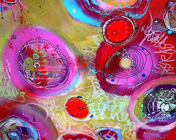 Reveal Large Pod and Portal Painting 24 x 36 in Reds, greens, blues, magenta by Jodi Ohl