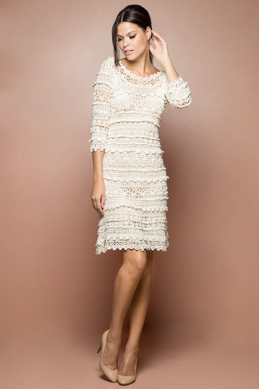 Vestido Crochet Olivia Off - Vanessa Montoro - vanessamontoro