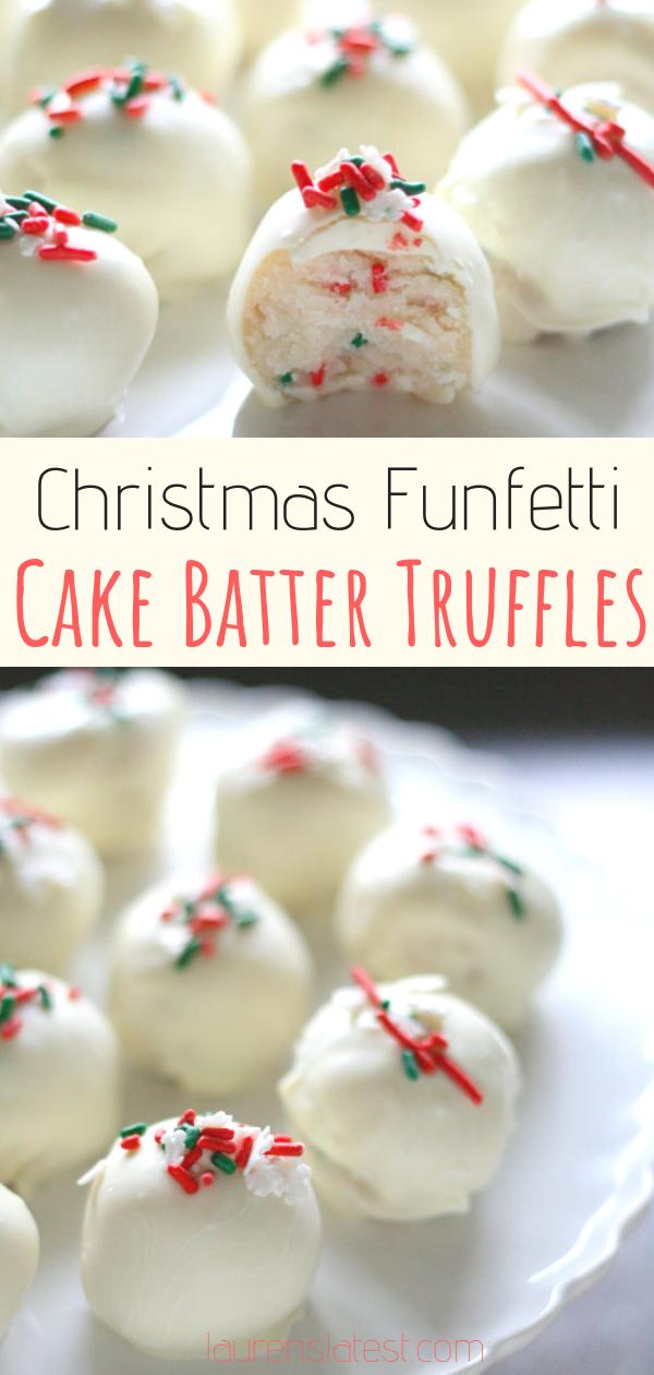 Christmas Funfetti Cake Batter Truffles  #holidaydesserts