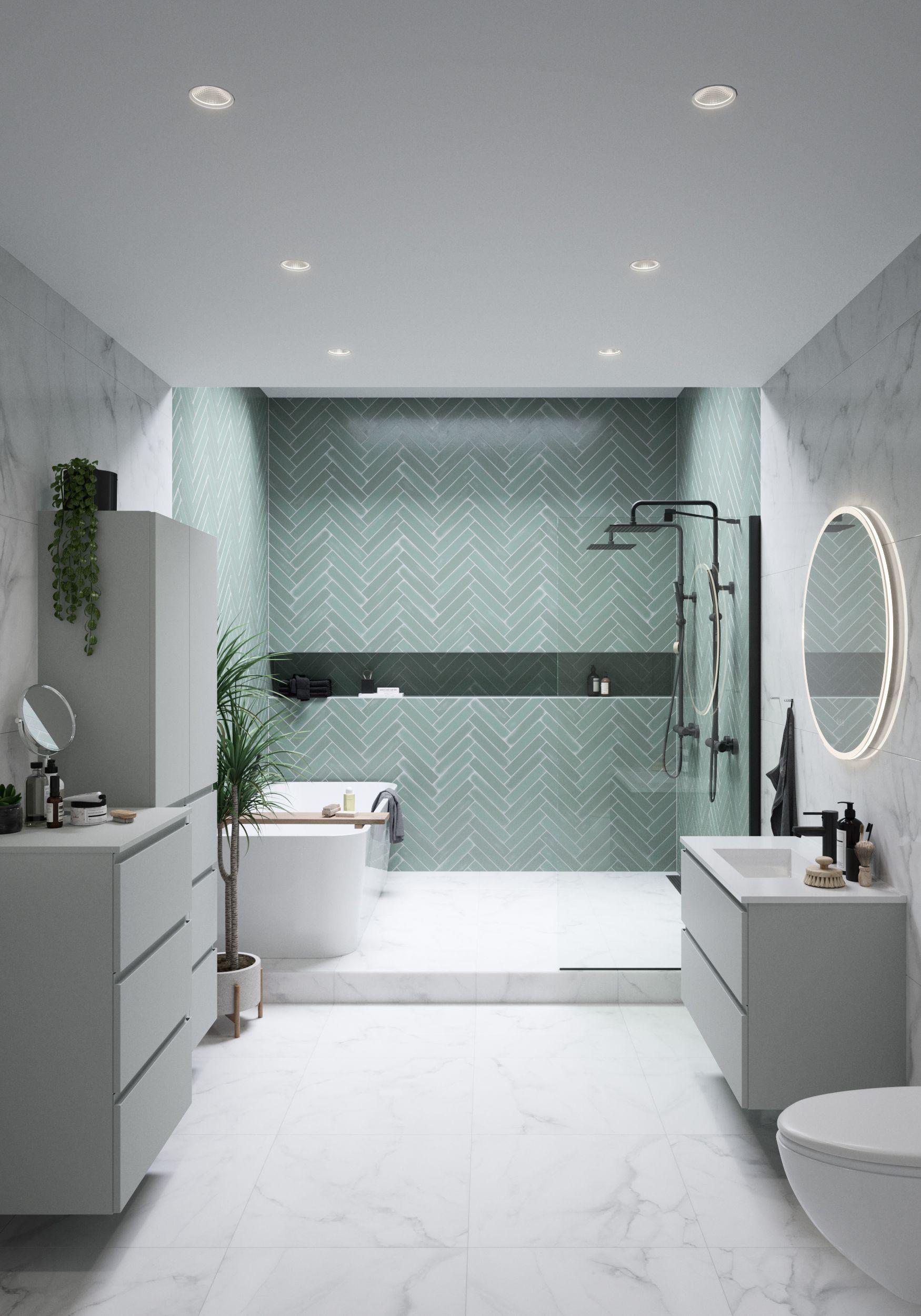 Photo of Herringbone tile pattern and marble bathroom #badeværelseinspiration Bathroom d…