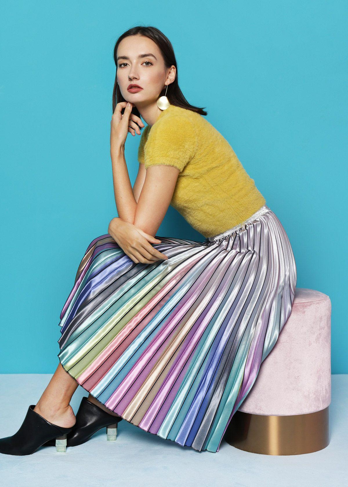 cd41ef74921d BO] Ombre Rainbow Pleat Skirt in 2019 | Reignbo Garb | Pleated Skirt ...