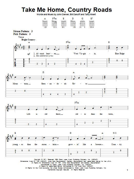 John Denver Take Me Home Country Roads Sheet Music Notes Chords Score Download Printable Pdf Guitar Songs For Beginners Sheet Music Notes Easy Guitar Songs