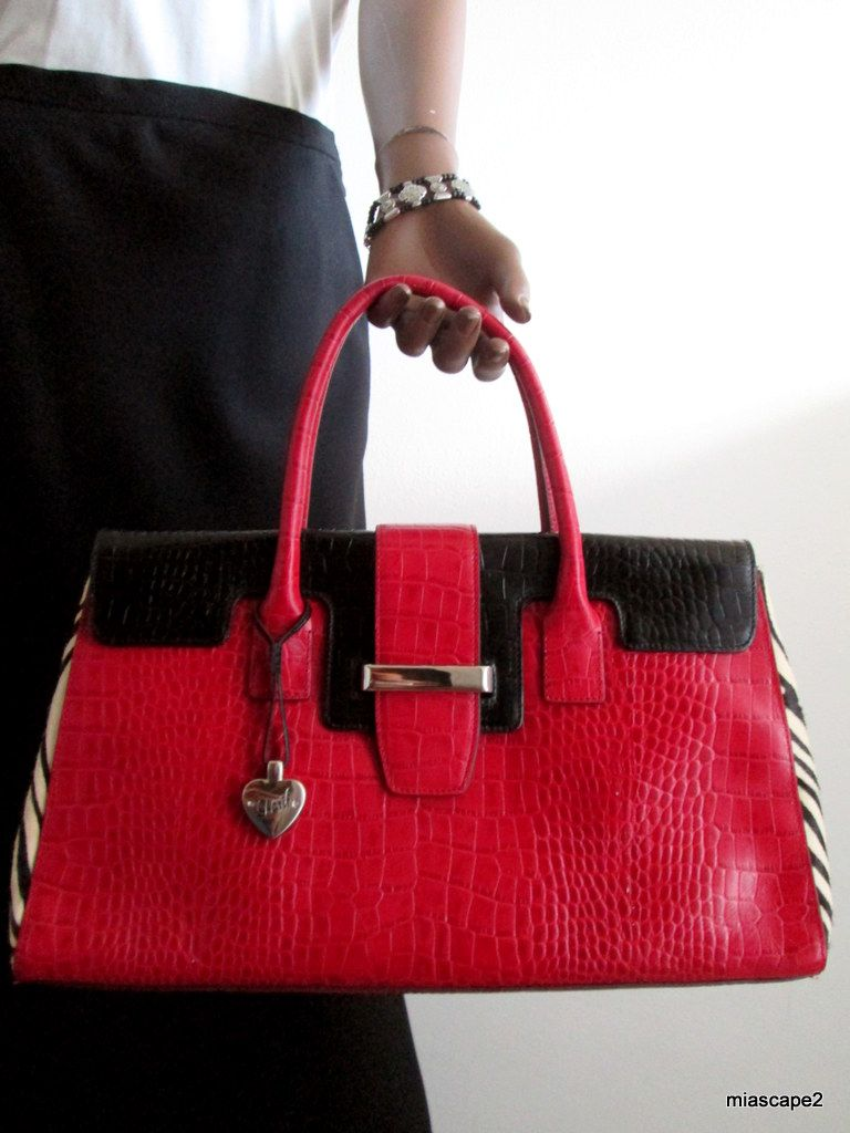 Sharif Studio Croc Embossed Genuine Leather Handbag Black Red