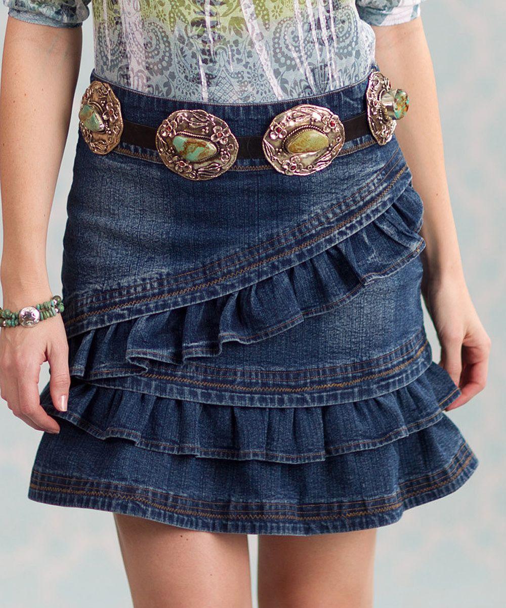 Blue ruffle rugar denim skirt women plus daily deals