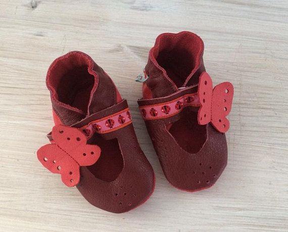 krabbellederschuhe sandale mit schmetterling  baby