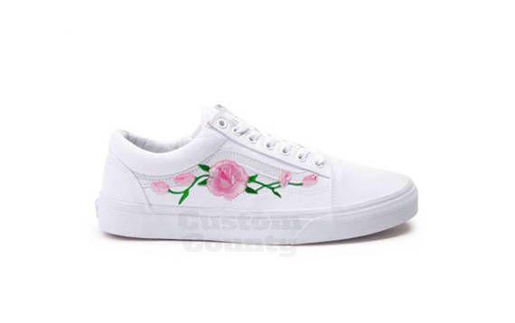 3325e53f9038 White Vans Old Skool Custom Pink Rose Embroidered Shoes-Vans Rose Shoes  Floral Vans-Custom Vans Rose