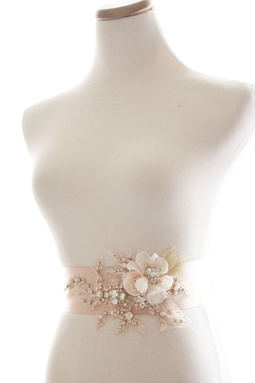 Beaded Rhinestone Bridal Sash, Champagne Blush Crystal Wedding Belt ...