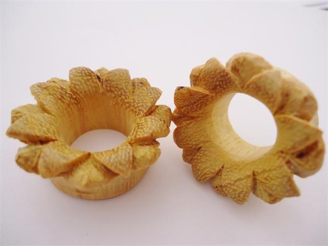 Jackfruit Wood Flower Tunnels (2 gauge - 1 inch)