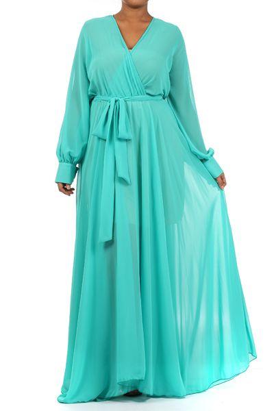 top shop plus size v-neck long sleeved maxi dress | dress