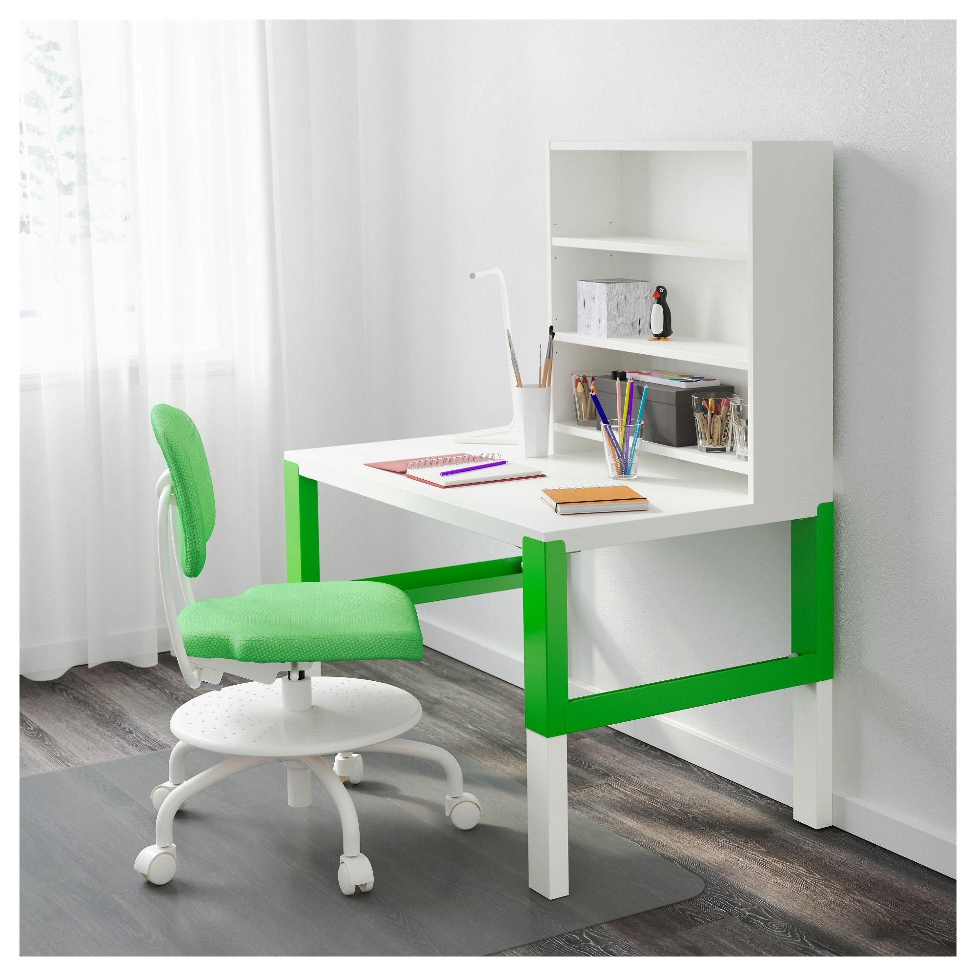 Ikea Pahl White Green Desk With Add On Unit Desk Ikea White Desks