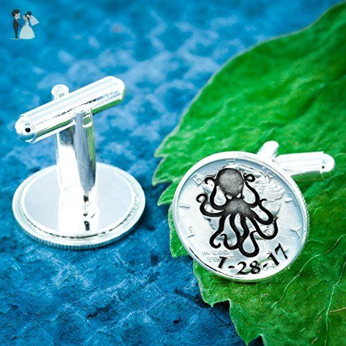 Silver Octupus Cufflinks, Groom Gift, with Custom Wedding Date Engraved cuff links, Made from Silver Mercury Dimes - Groom fashion accessories (*Amazon Partner-Link)