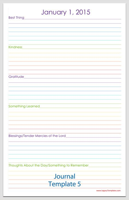 Daily Journal Template Diary Word Food Downloadable Document