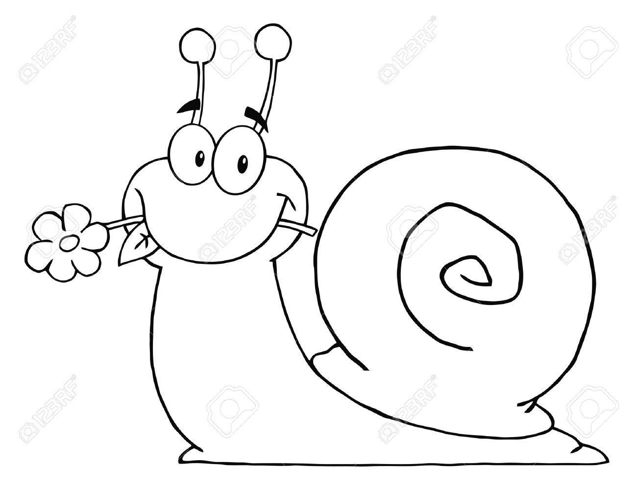 Beschriebenen Cartoon Schnecke mit einer Blume im Maul