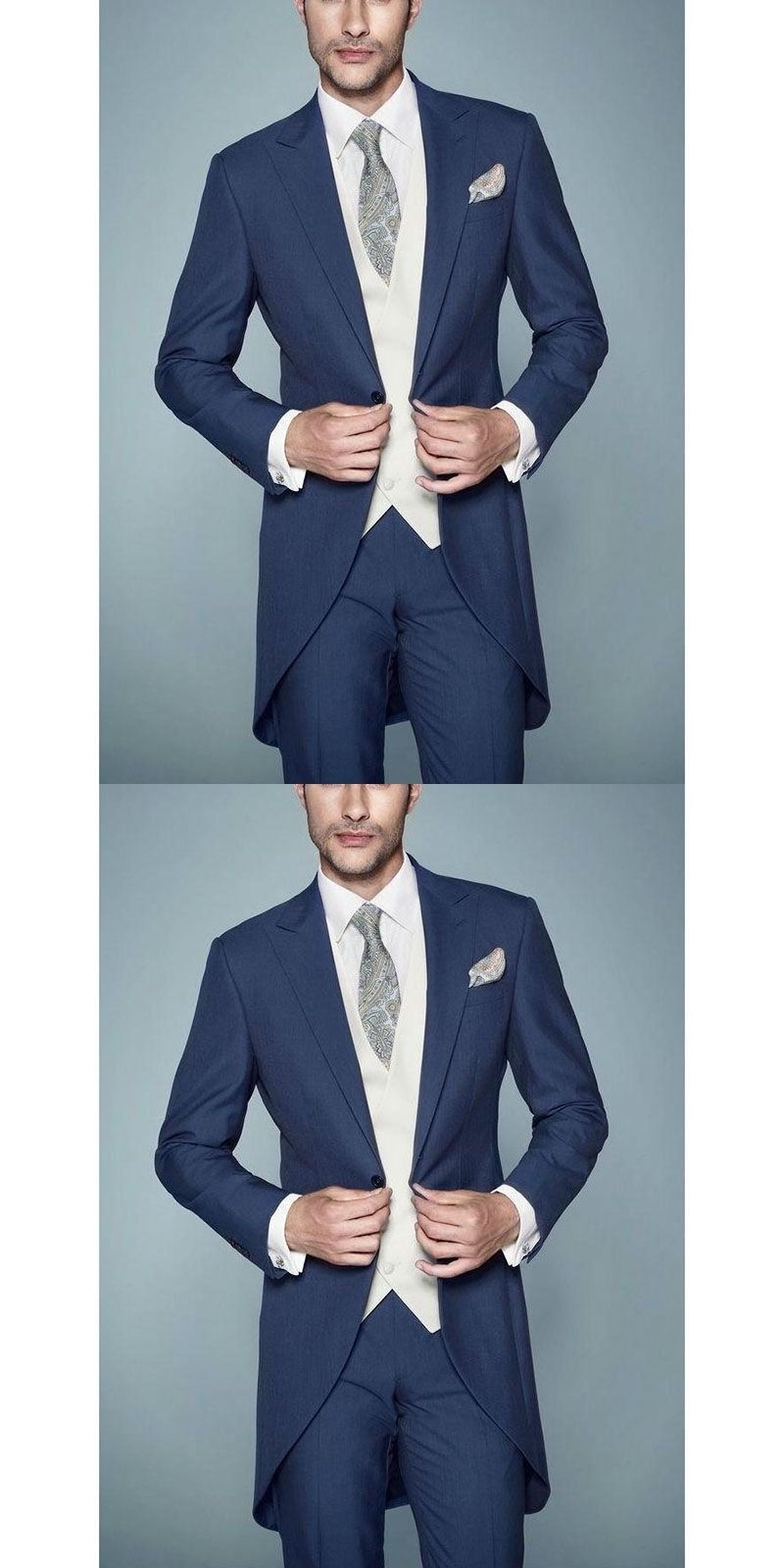2017 New Blue Groom men Tuxedos Best Man Suit Peaked Lapel Groomsman ...