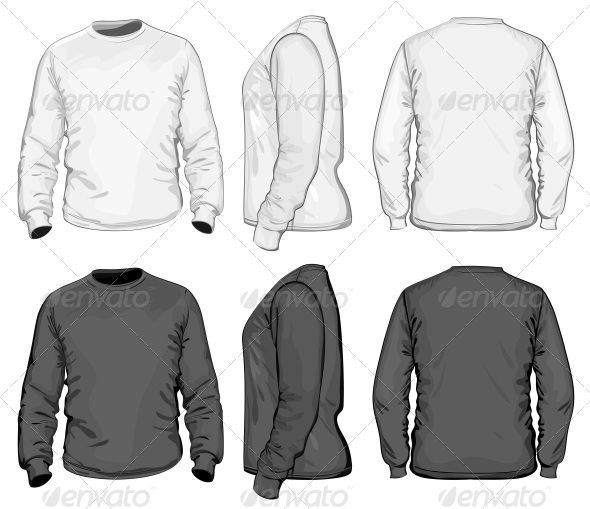 Men's T-shirt Design Template (Long Sleeve) | Men's outfits ...