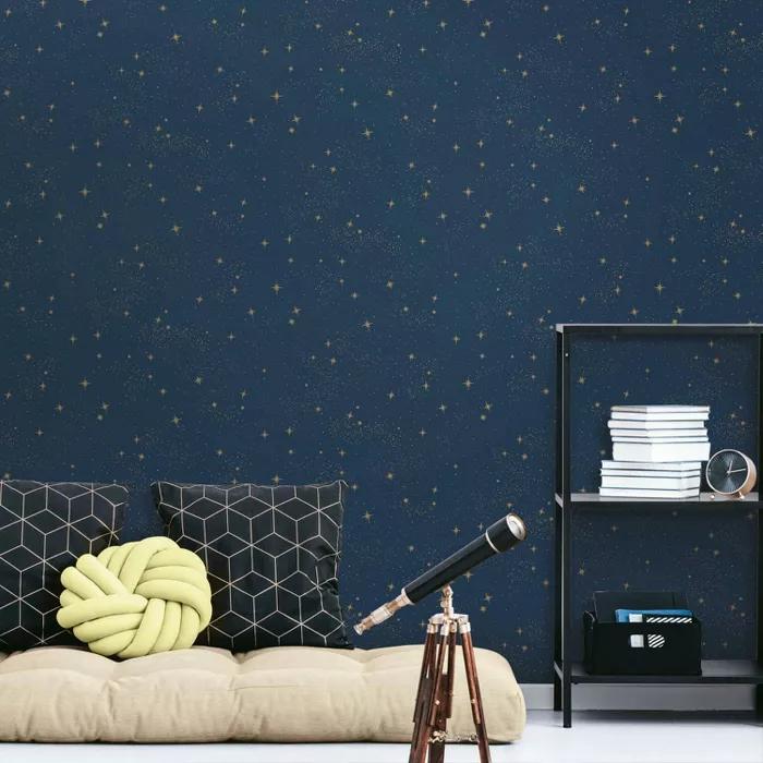 Roommates Upon A Star Peel Stick Wallpaper Navy Wallpaper Peel And Stick Wallpaper Contemporary Wallpaper