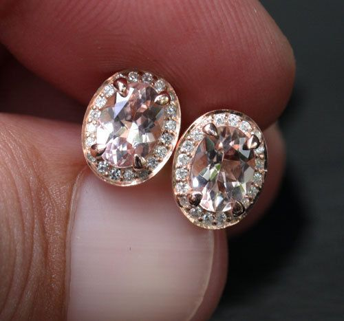 14k Rose Gold 7x5mm Morganite Oval And Diamond Earrings