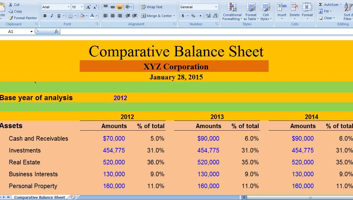 Comparative Balance Sheet serves as a monetary correlation from year - fresh 9 non profit financial statement template excel