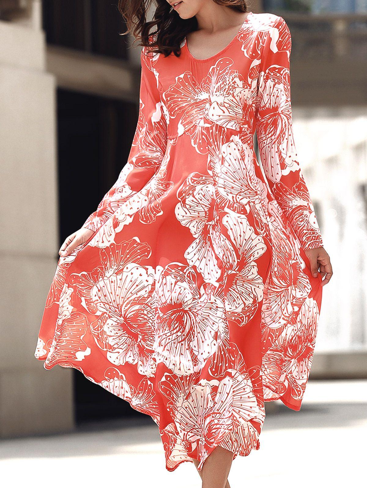 Back cut out round collar long sleeve maxi dress pinterest long