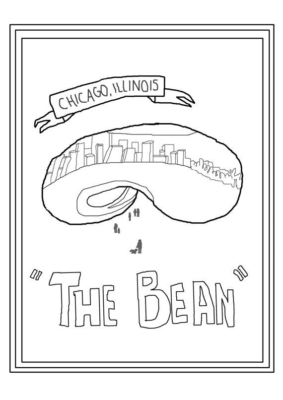 Printable Chicago Bean Coloring Page By Ladywhom On Etsy