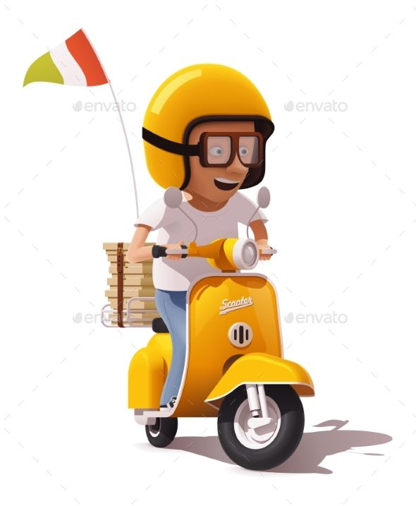 Vector Realistic Retro Pizza Delivery Scooter Personaje En 3d