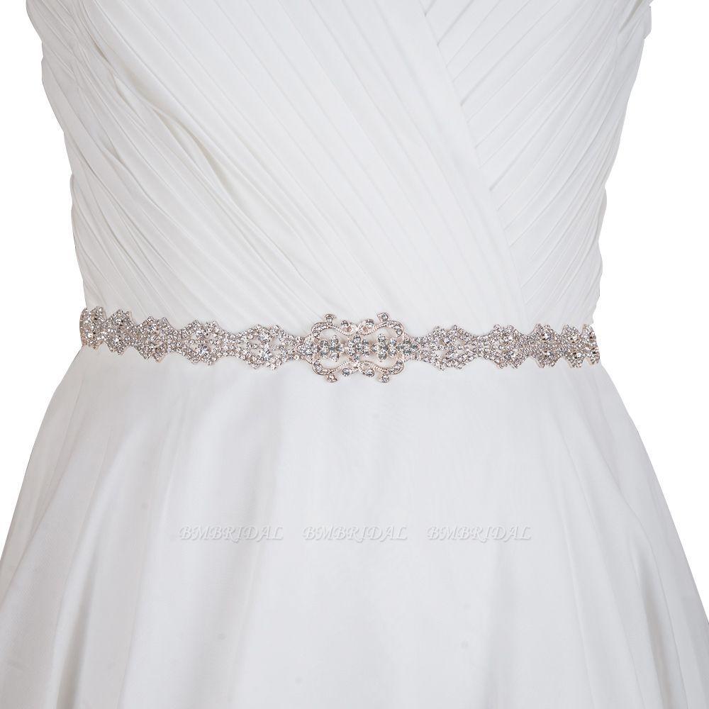 Elegant satin wedding sashes with rhinestone wedding