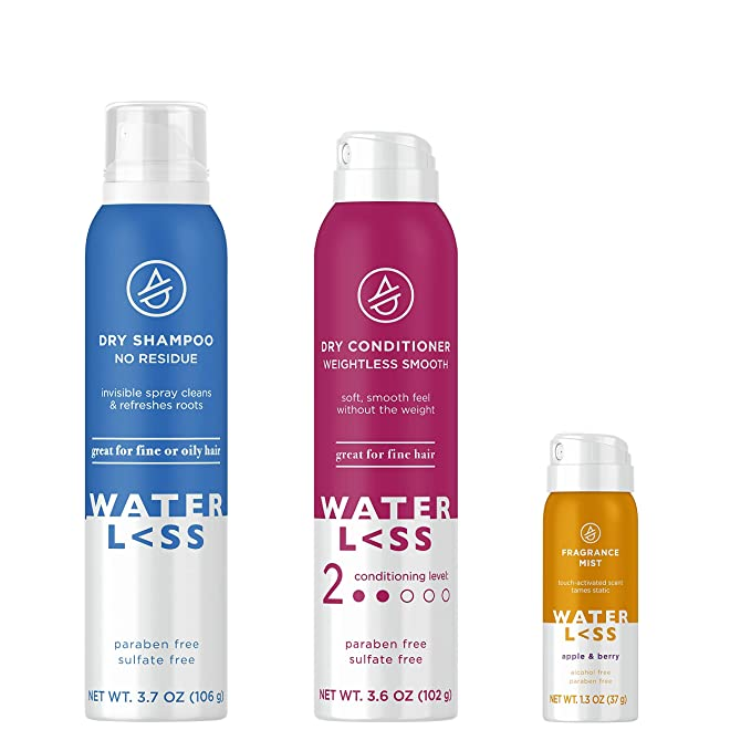 Amazon Com Waterless Bundle Pack With Dry Shampoo Spray Dry Conditioner And Fragrance Mist Apple Berry Scent B Dry Conditioner Dry Shampoo Fragrance Mist