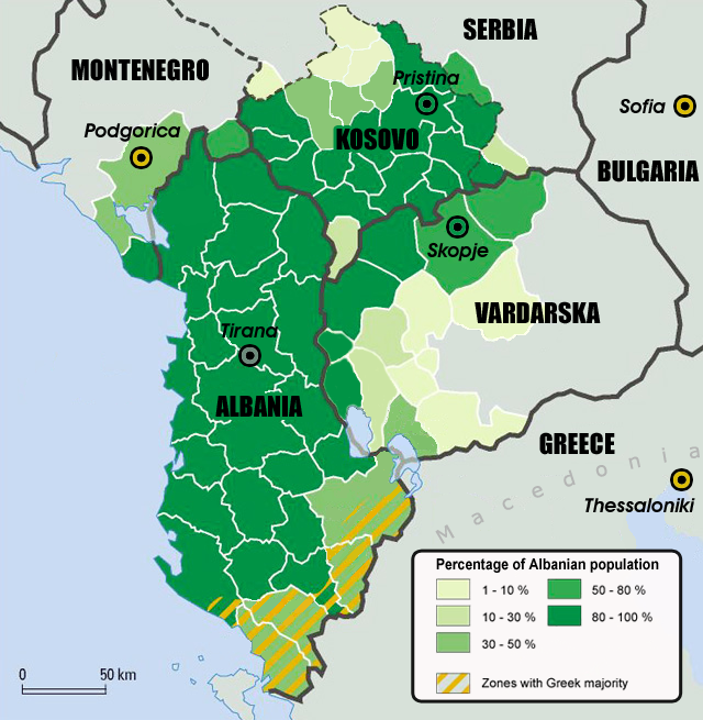 Map Of Ethnic Albanian Population Within The Proposed Irredentist - Political map of albania