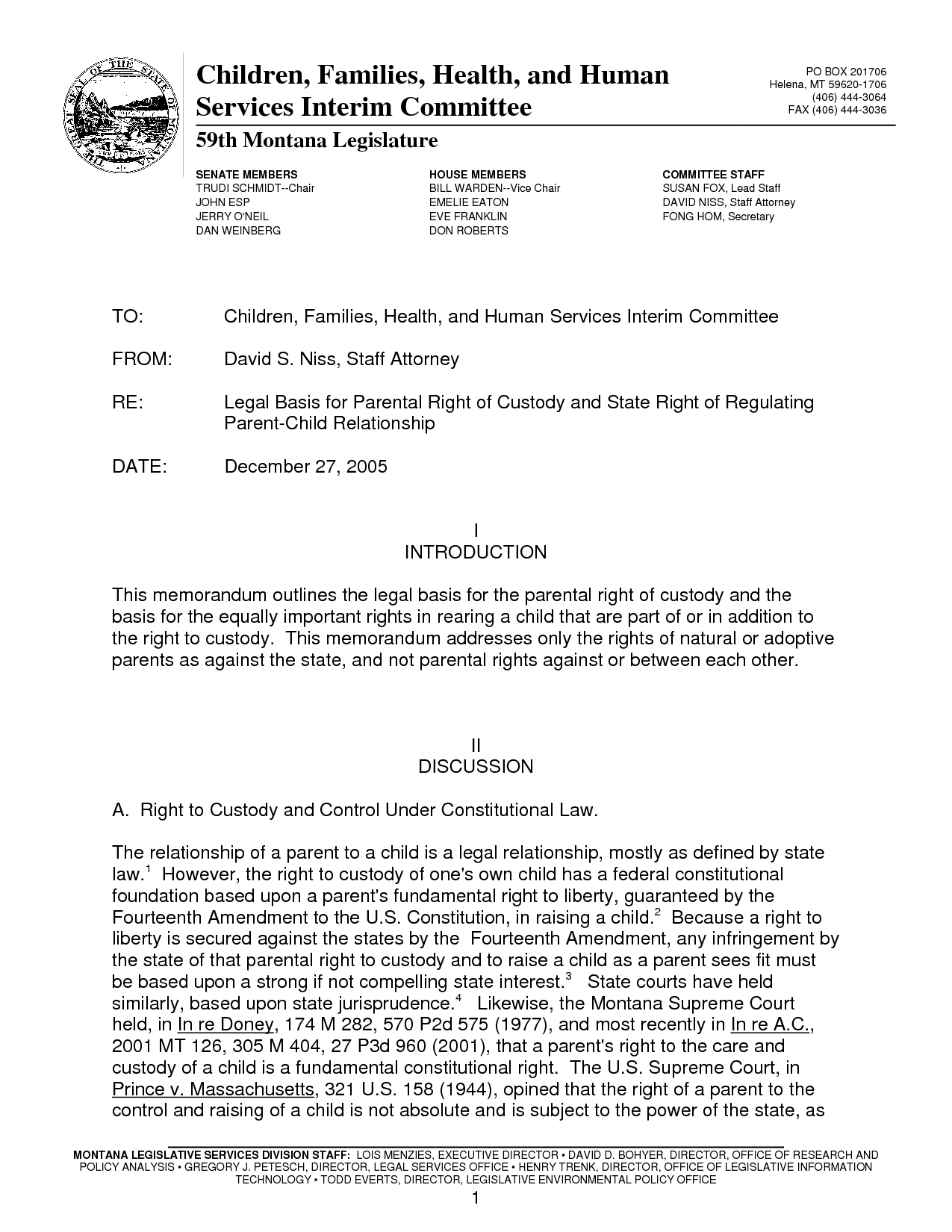 Legal Memo Format Example Memo format, Parental rights