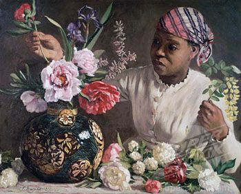 La negresse aux pivoines by Frederic Bazille, 1870. Companion to the painting of the same woman full-face with the flowers, which is more often seen