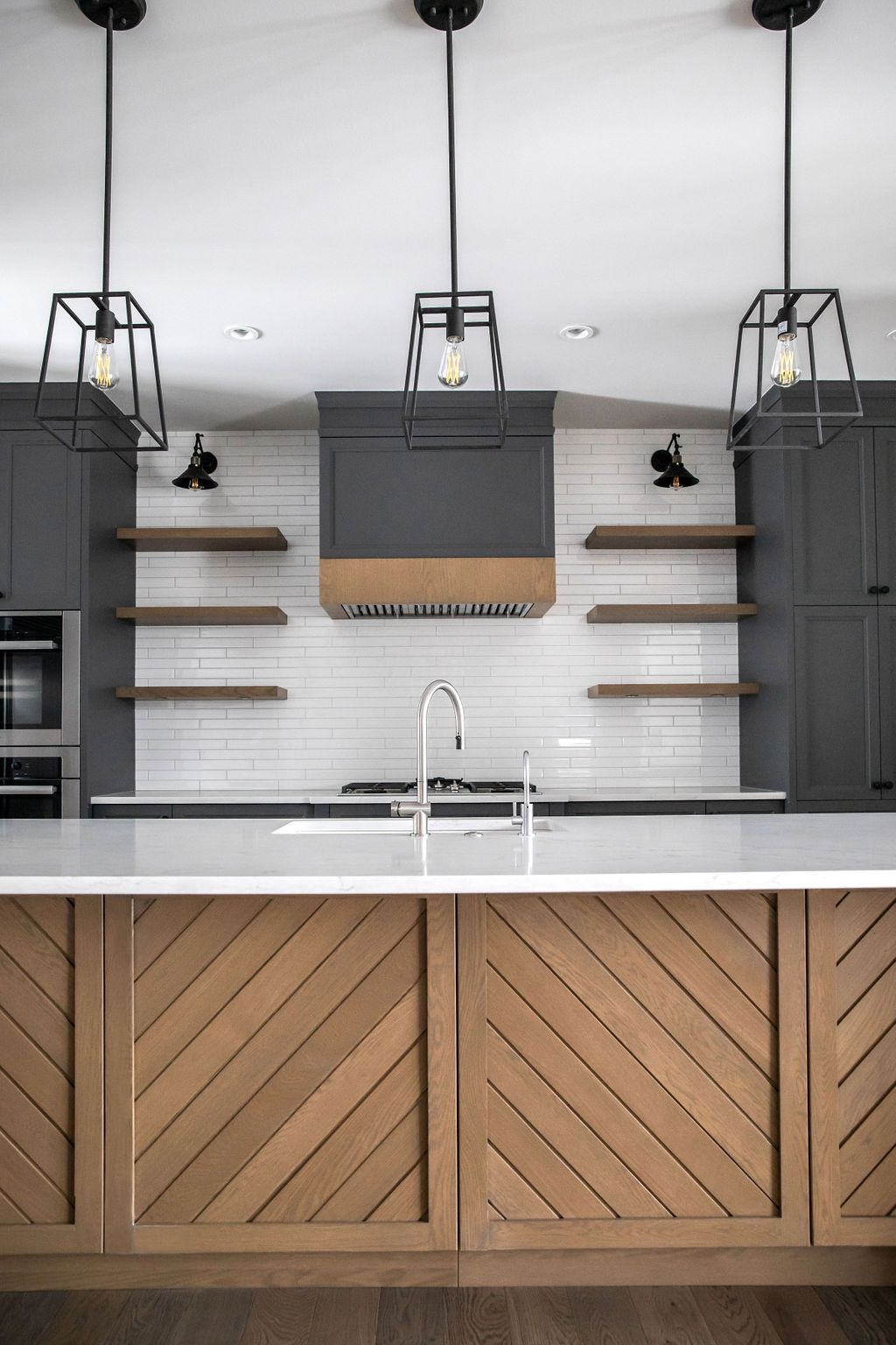 Chevron Island with Black Cabinets