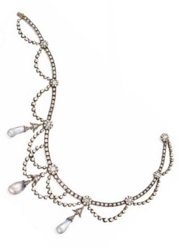 A Belle Epoque diamond and natural pearl necklace, French, circa 1870. Designed as festoons of old-mine diamonds supported by a box-link band interrupted by florets, the centre suspending three natural pearl drops of light grey colour, the whole set with 310 old-mine and rose-cut diamonds, mounted in silver and gold, length15 ½ inches, assay mark. #BelleÉpoque #necklace