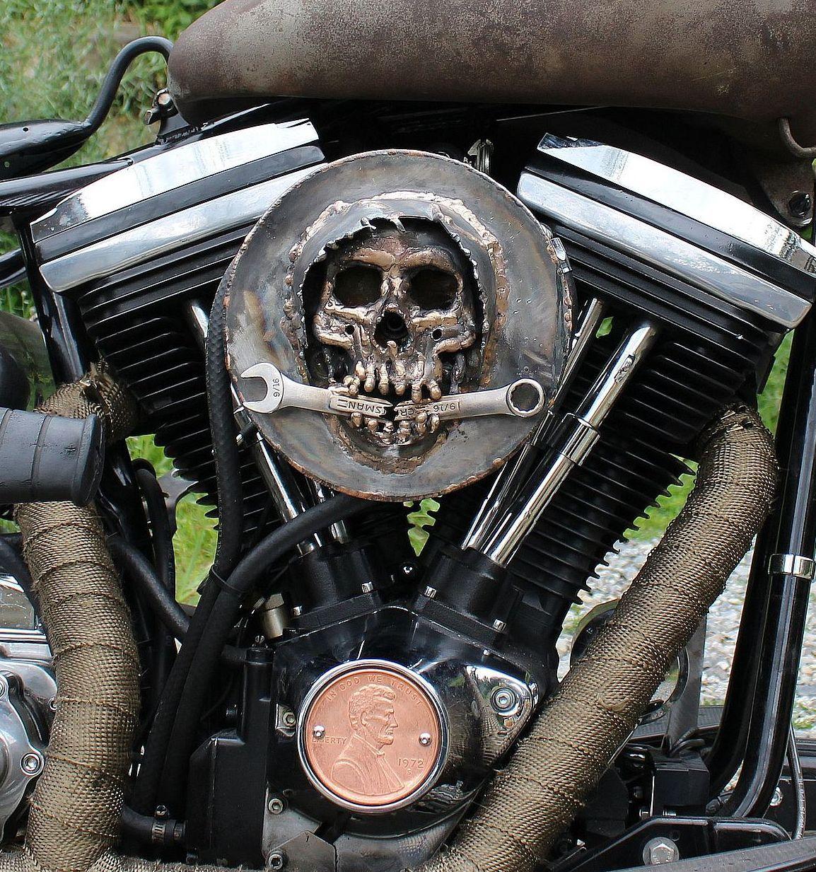 grim reaper skull and wrench mikuni carburetor air cleaner