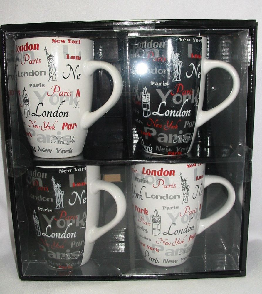 Gift Boxed Set 4 Coffee Cup Mug 12 oz Paris London New