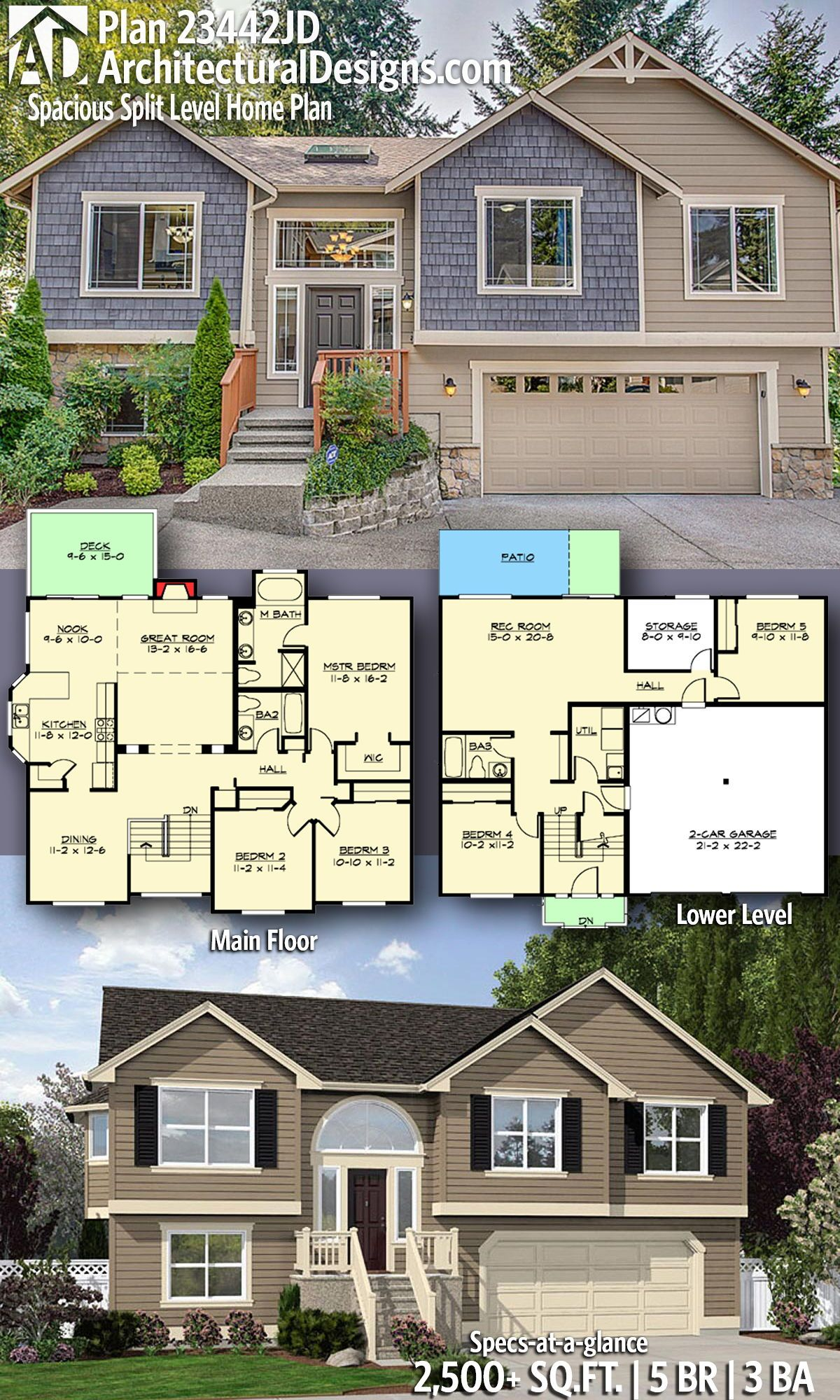 Plan 23442jd Spacious Split Level Home Plan Architectural