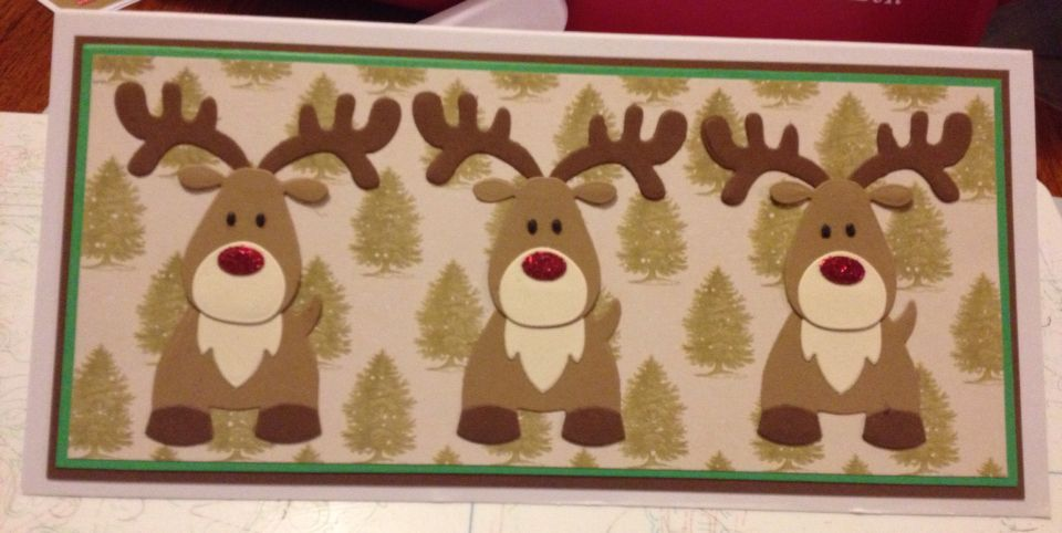 Marianne designs reindeer. 3 red noses, Christmas card