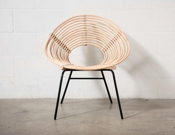 Unique Bamboo Hoop Chair With Black Metal Legs Via Amsterdam Modern