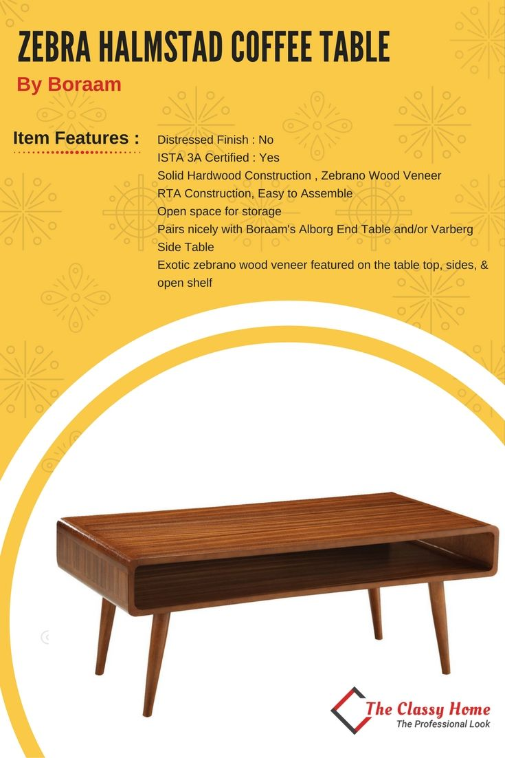 Zebra series contemporary rich walnut wood halmstad coffee table