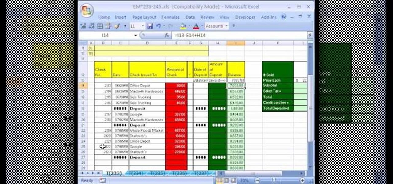 How To Create A Checkbook Balancing Formula In Excel Excel Math Tricks Excel Tutorials