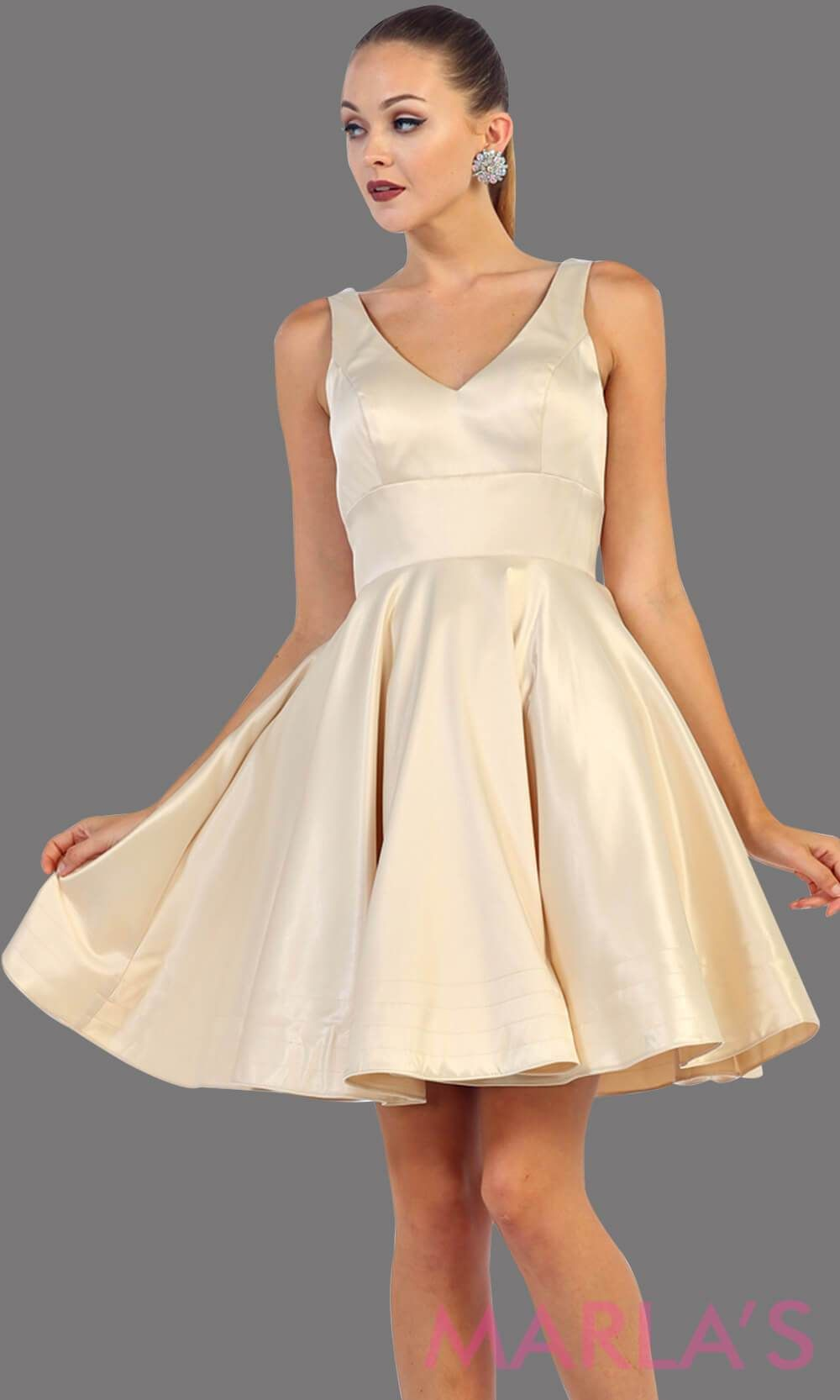 29dc834695b Short champagne satin v neck dress with wide straps. This is the perfect  short light gold dress for grade 8 graduation