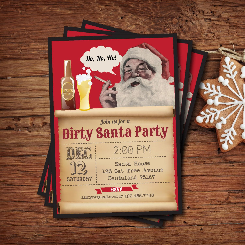 Dirty Santa invitation. Christmas party invite. Bad Santa. Retro ...