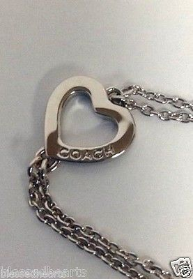 Coach Bracelet Heart New In Box 90293 Nwt Gift Silver Chain 7 Inch