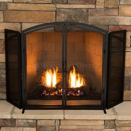 Adams Curved Top 3 Panel Fireplace Door Screen Black Fireplace Standing Fireplace Fireplace Screens