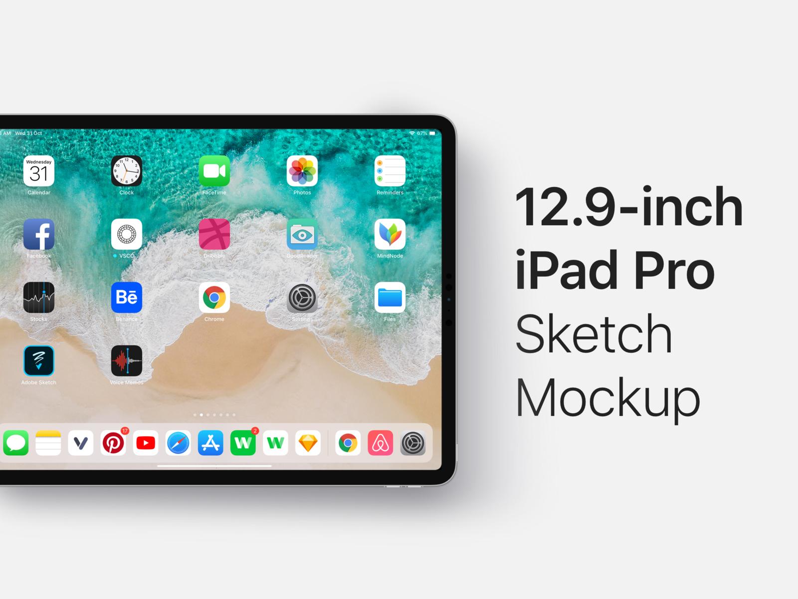 12 9 Inch Ipad Pro 2018 Sketch Mockup Free Download Ipad Pro Ipad Mockup Free Download