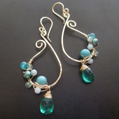 Handcrafted-Curly-Q-Paisley-Wire-Wrapped-Gemstone-Teal-Dream-Earrings