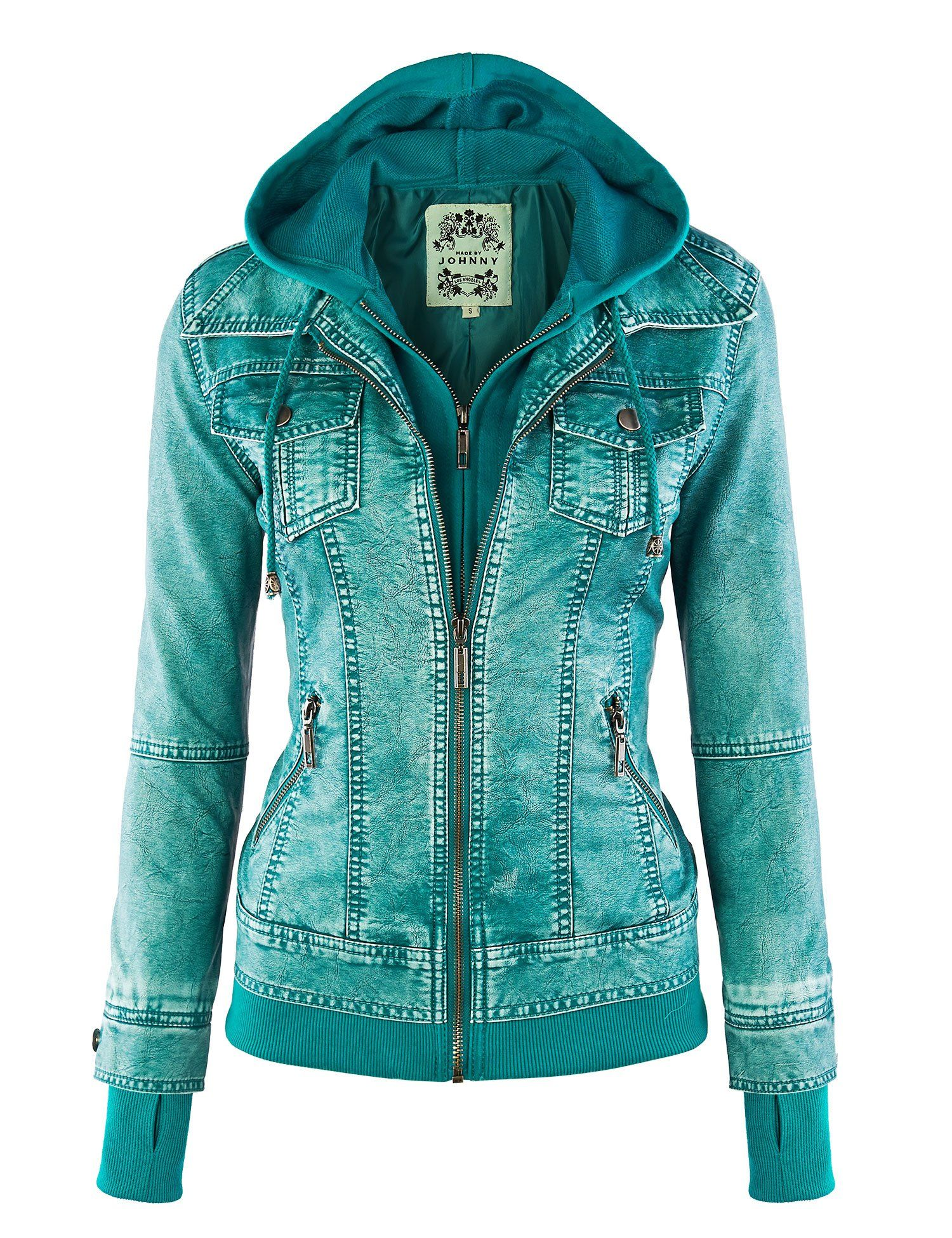 LL Womens Hooded Faux leather Jacket at Amazon Women's