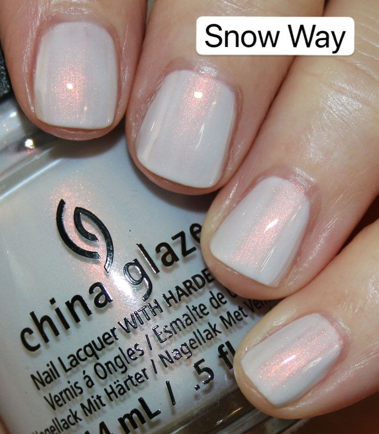 Snow Way is a white with iridescent pink pearl shimmer.