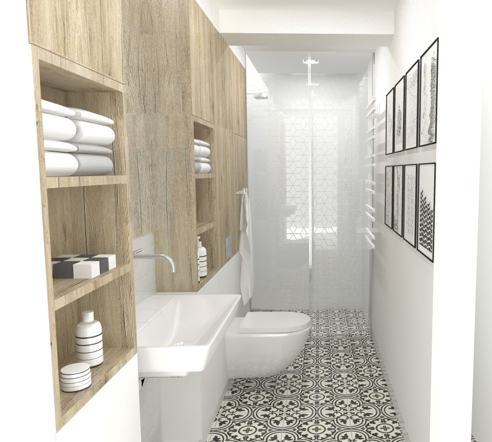 narrow bathroom design, Gdansk, Poland   interiors   Pinterest ...